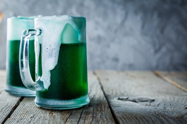 Pints of green beer for St. Patrick's Day