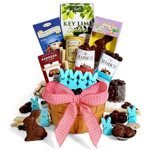 A gift basket filled with gourmet chocolates and more. The perfect adult or teen Easter gift.
