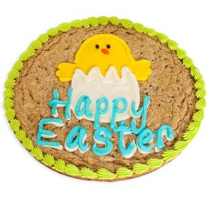 A soft and scrumptious chocolate chip cookie with Happy Easter text and a cute frosting chick.
