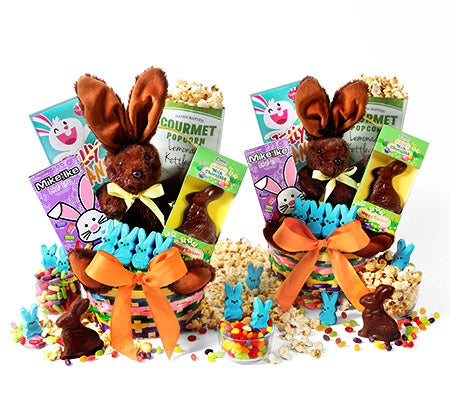 Two Easter baskets. Each with stuffed bunny, sweet treats and toys.