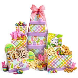 A 4-tiered box tower with Easter themed graphics and gourmet treats.