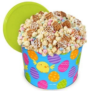 Easter gift popcorn tin with colorful bunny munch flavor popcorn.
