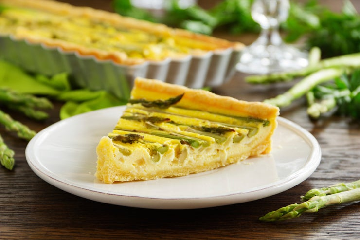 Piece of asparagus artichoke quiche