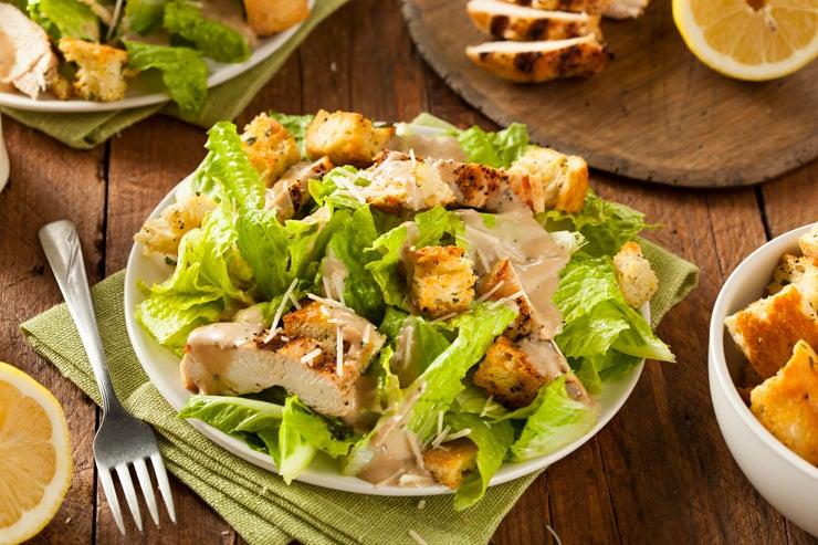 Bowl of grilled chicken caesar salad