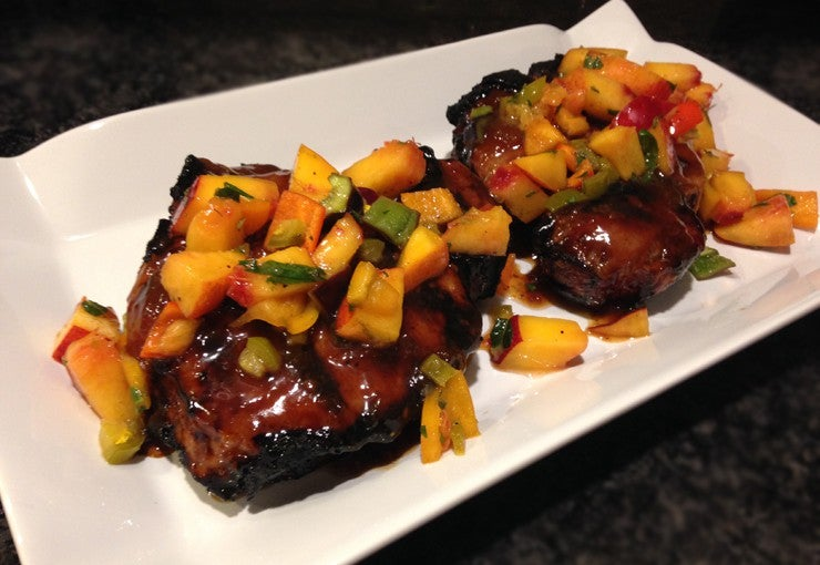 Grilled pork chops with nectarine salsa