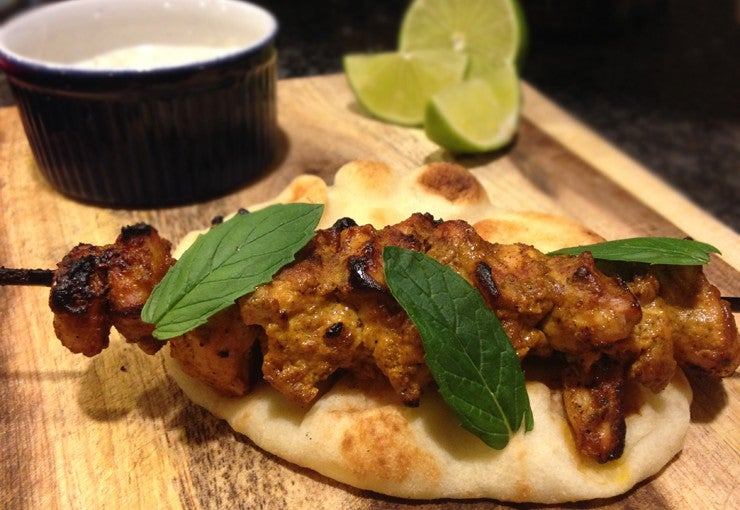 Tandoori chicken kebab and cucumber raita
