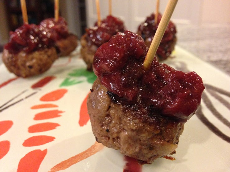 Bacon Meatballs with Savory Strawberry Chutney