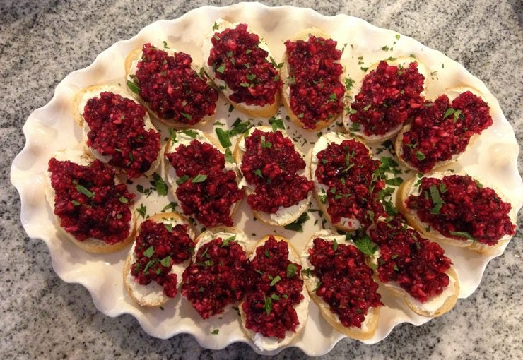 Thanksgiving appetizer recipes - pomegranate cranberry bruschetta