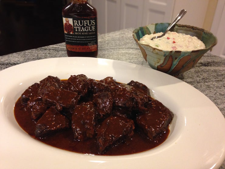 Slow Cooker BBQ Short Ribs with Pimento Grits