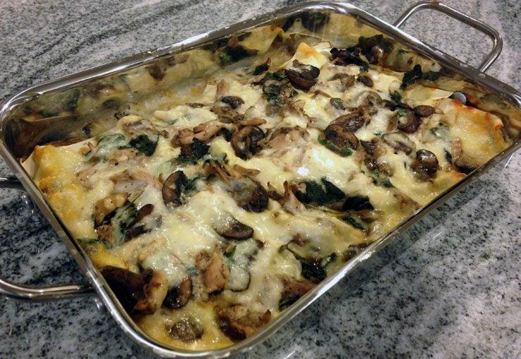 Chicken mushroom spinach lasagna
