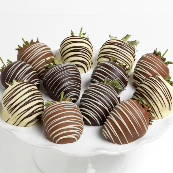 Triple chocolate covered strawberries