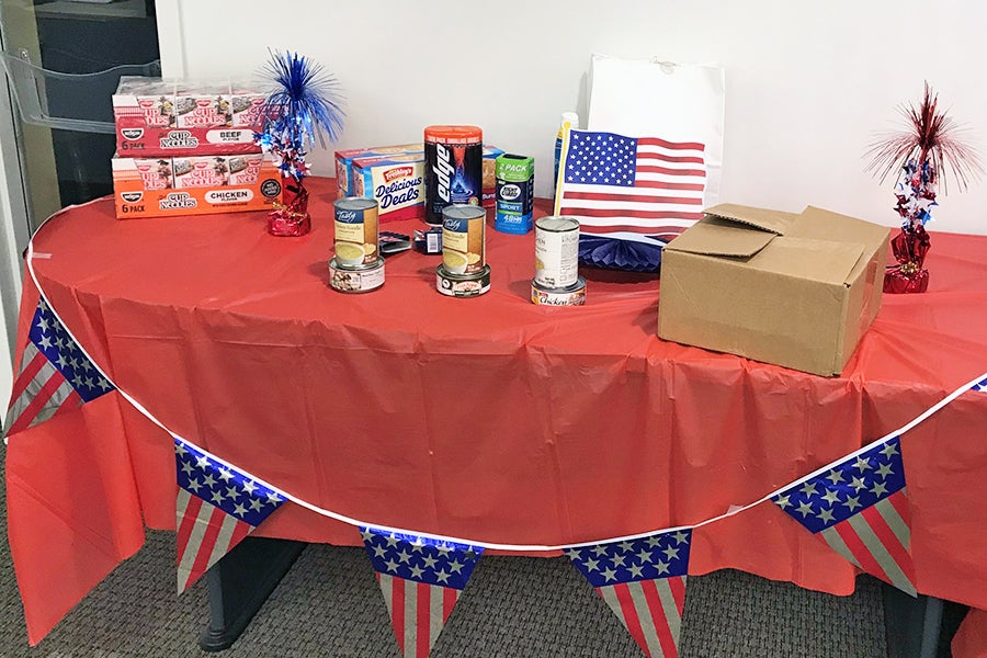Donations for military personnel stationed overseas during 4th of July