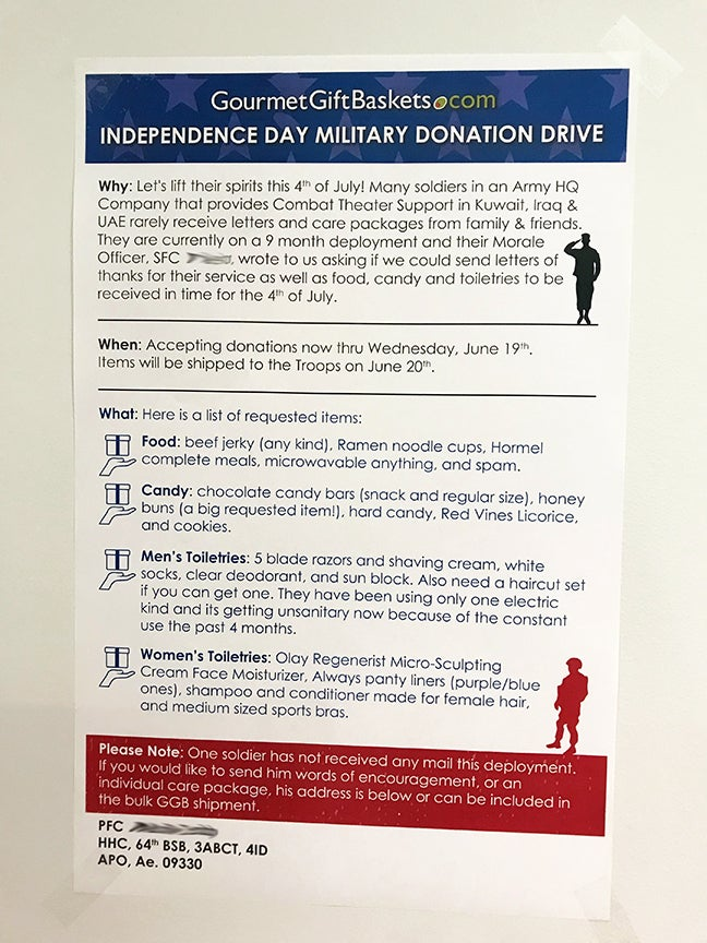 Independence Day Military Donation Drive Poster