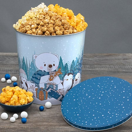 Let It Snow Holiday Popcorn Tin Traditional