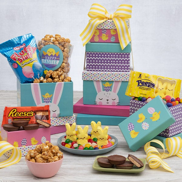 Easter bunny gift tower by gourmetgiftbaskets easter bunny gift tower 6852 negle