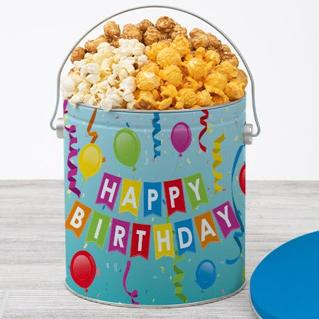 Happy birthday popcorn tin traditional 1 gallon