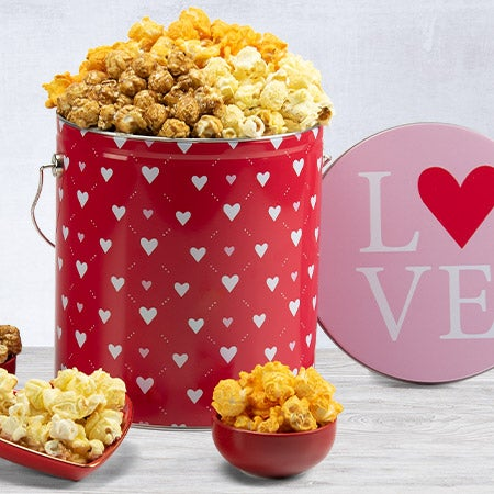 Valentines day popcorn tin 1 gallon peoples