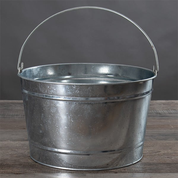 16 Quart Metal Bucket - Galvanized Silver