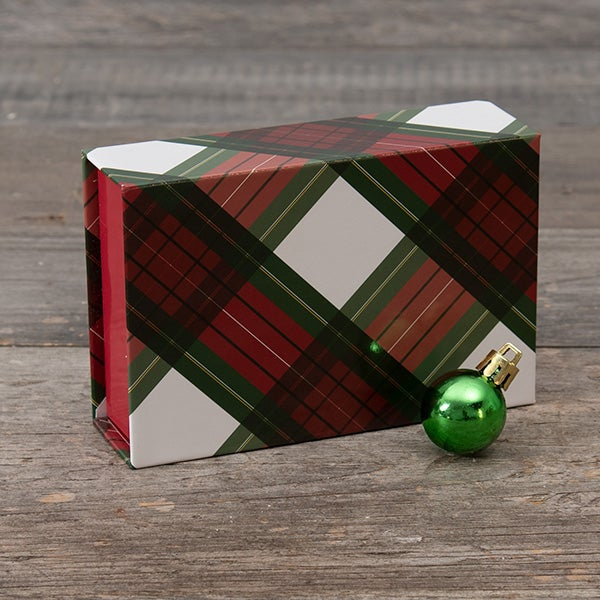 Single Box - Magnetic Closure - Red & Green Plaid Pattern (RED INNER)