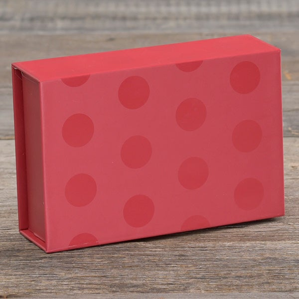 Christmas red box with darker red polka dots magnetic closure box.