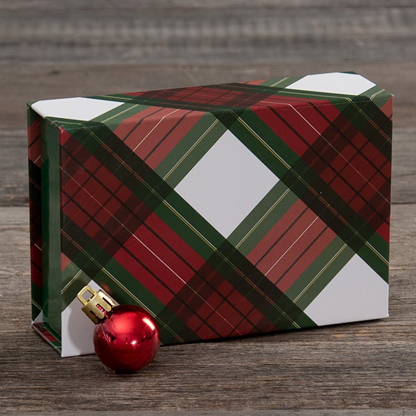 Single Box - Magnetic Closure - Red & Green Plaid Pattern (GREEN INNER)