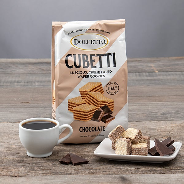 Cubetti Wafer Cookie Bag - Chocolate - by Fusion Gourmet - 8.8oz