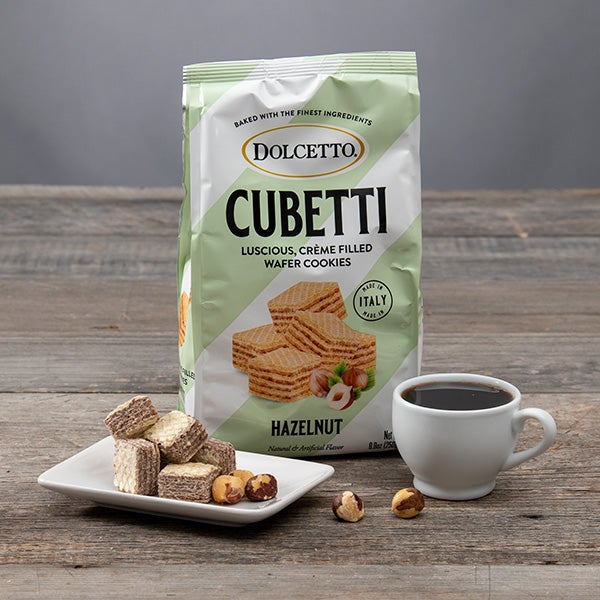 Cubetti Wafer Cookie Bag - Hazelnut - by Fusion Gourmet - 8.8oz