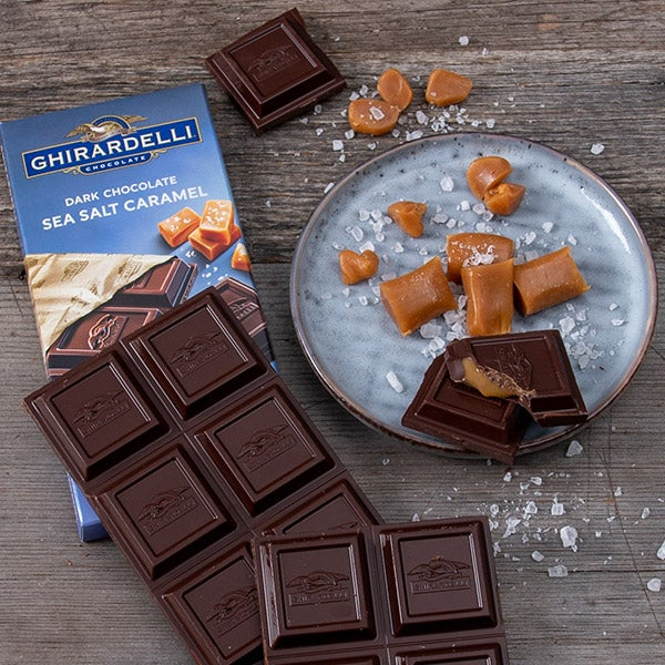 Dark & Sea Salt Caramel filled Bar by Ghirardelli - 3.5 oz. -