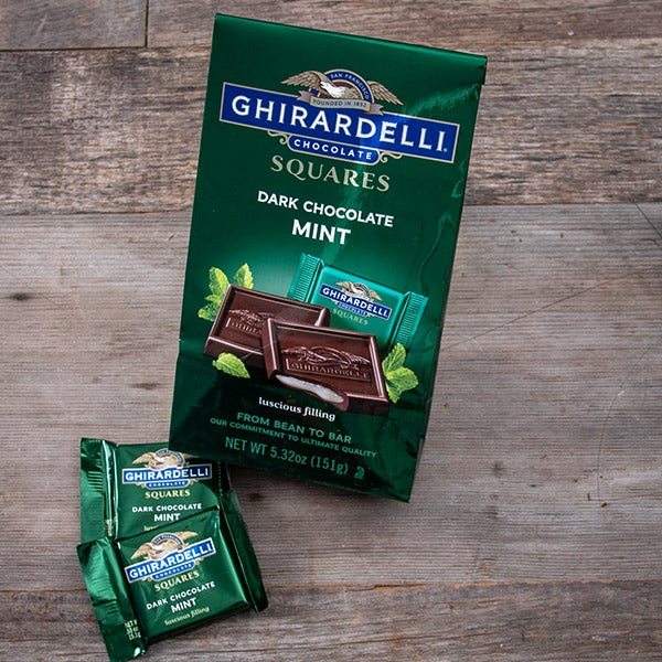 Dark Chocolate with Mint Filling Squares by Ghirardelli - 5.32 oz. -
