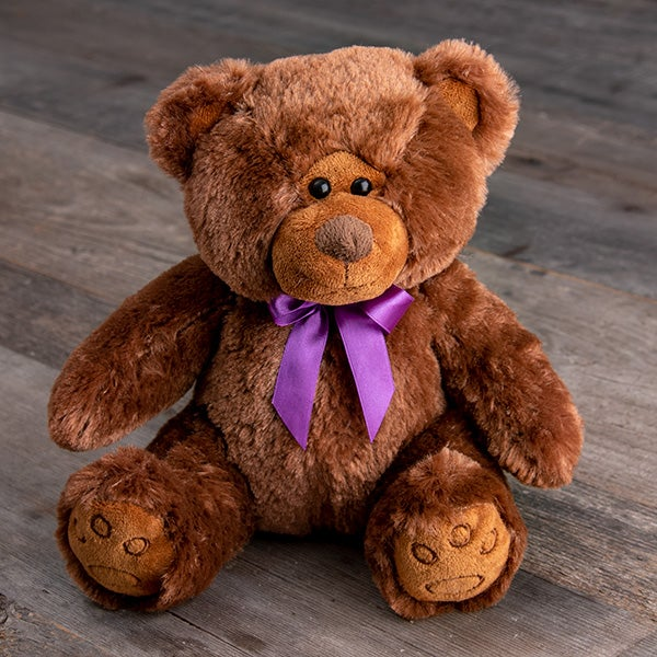 Chocolate Bear with Dark Purple Ribbon Bow Tie