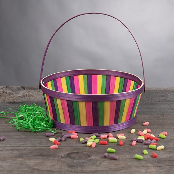 Easter Basket-(round-purple-trim-multicolored-chipwood-with-handle)