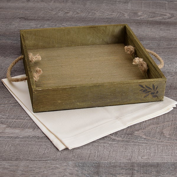 Wooden Crate - Rope Handles - 9.75 x 9.75