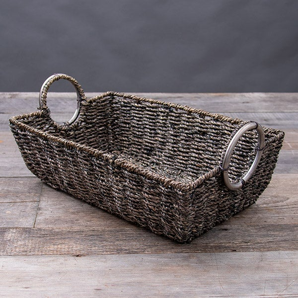 Woven Seagrass Basket, with Round Metal Handles