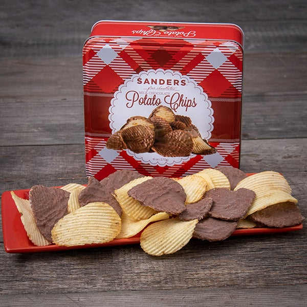 Milk Chocolate Dipped Potato Chips Tin by Morley Sanders - 6 oz. -