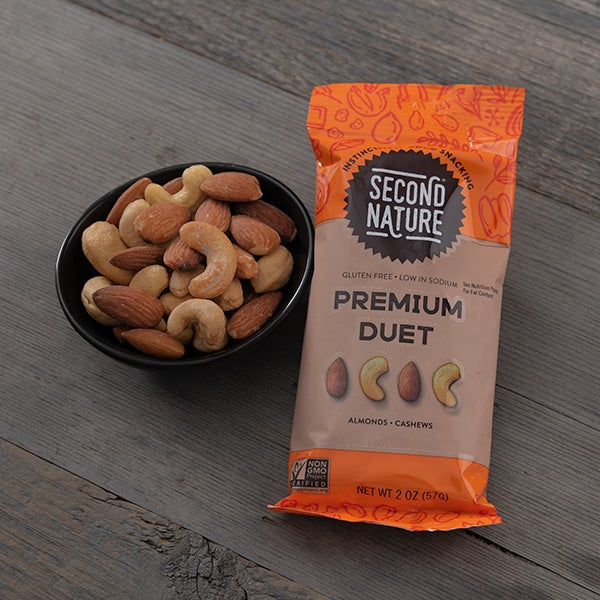 Premium Duet of Roasted Almonds & Cashews by Second Nature - 2 oz. -