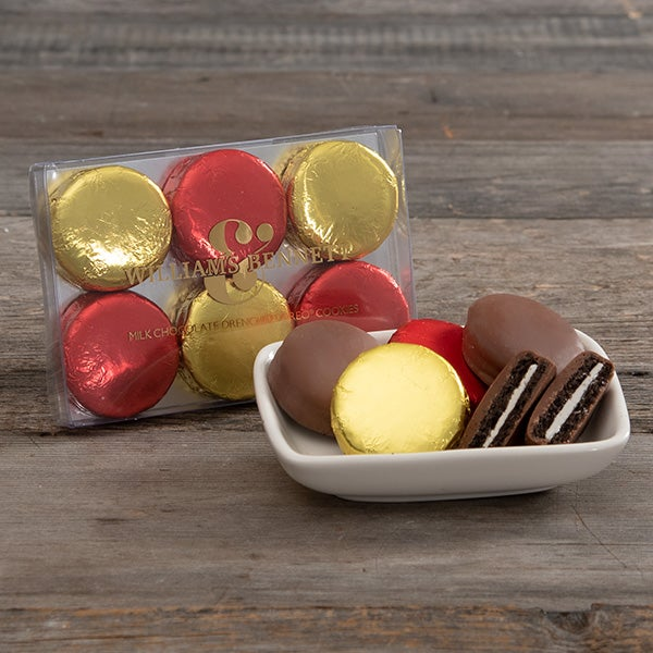 Foiled Chocolate Covered Oreos by Williams & Bennett - 6 pc acetate box -