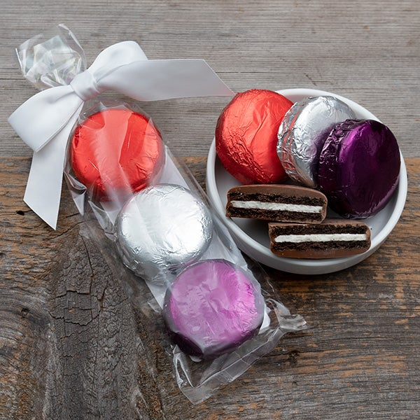 Foiled Chocolate Covered Oreos by Williams & Bennett - 3 pc (red, silver, purple)
