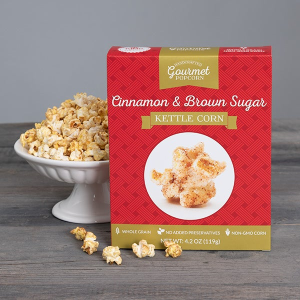 Cinnamon & Brown Sugar Kettle Corn (XMAS RED) by GourmetGiftBaskets.com - 4.2 oz. -