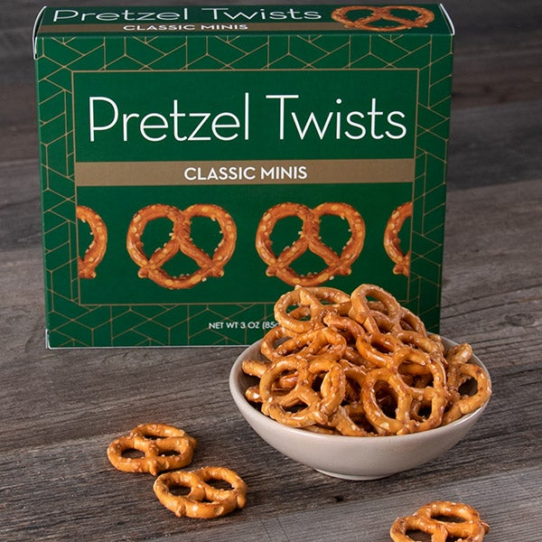 Pretzel Twists (GREEN) by GourmetGiftBaskets.com- 3 oz. -