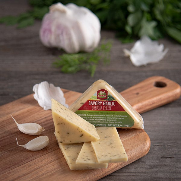 Savory Garlic Cheddar Cheese (Triangle) by Mountain View Cheese Co. - 2 oz. -