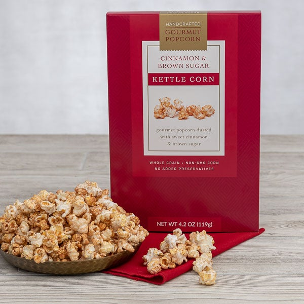 Cinnamon & Brown Sugar Kettlecorn (XMAS TALL RED - 2019) by GourmetGiftBaskets.com - 4.2 oz. -