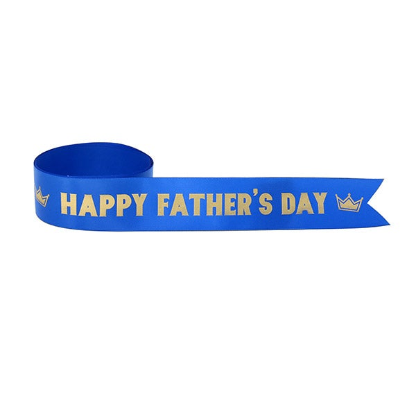 Printed-Branded-Ribbon-GGB-Happy Father's Day (Blue Ribbon with Gold Ink)