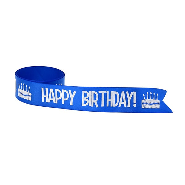 Printed-Branded-Ribbon-Happy Birthday (Blue Ribbon with Silver Ink)