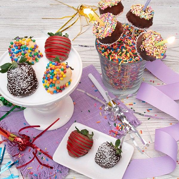Happy Birthday Gift Tower By Gourmetgiftbaskets Com: Happy Birthday Strawberries & Brownie Pops By