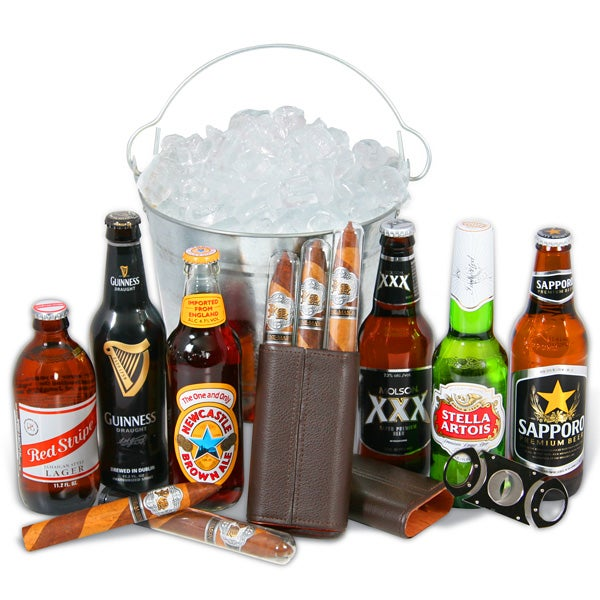Beer And Cigar Gift Set By GourmetGiftBaskets.com