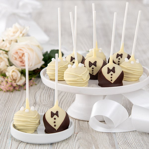 Wedding Cake Pops - these make great wedding anniversary gifts or a unique wedding gift!