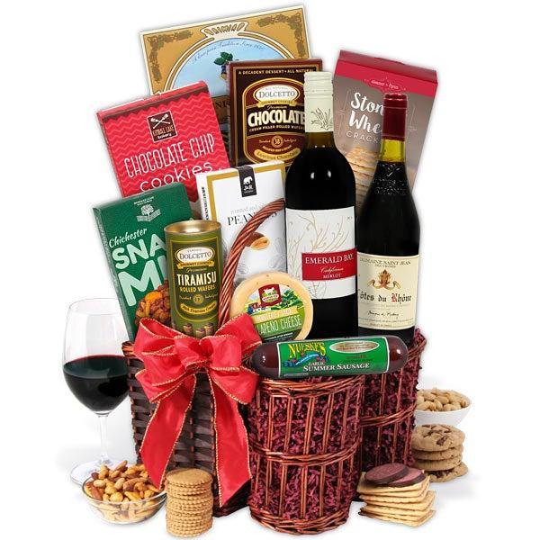 Red Wine Showcase Gift Basket By Gourmetgiftbaskets Com