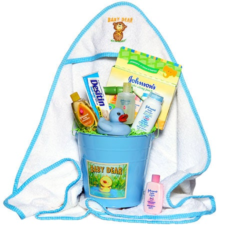 Baby Boy's Bath Time Gift Basket