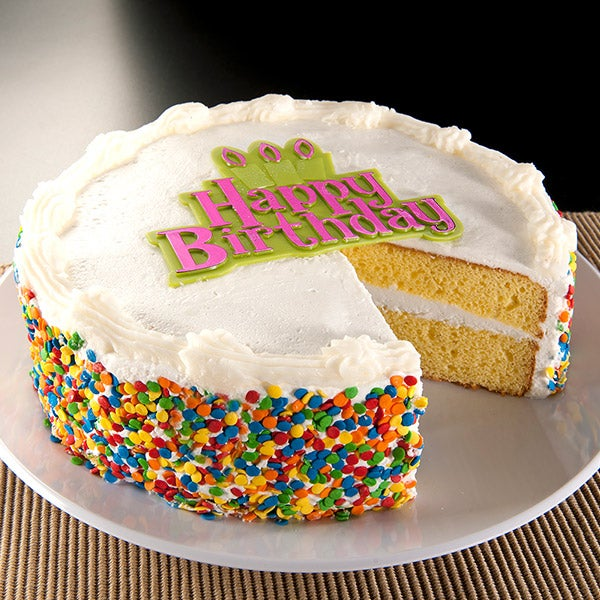 Vanilla Happy Birthday Cake By Gourmetgiftbaskets