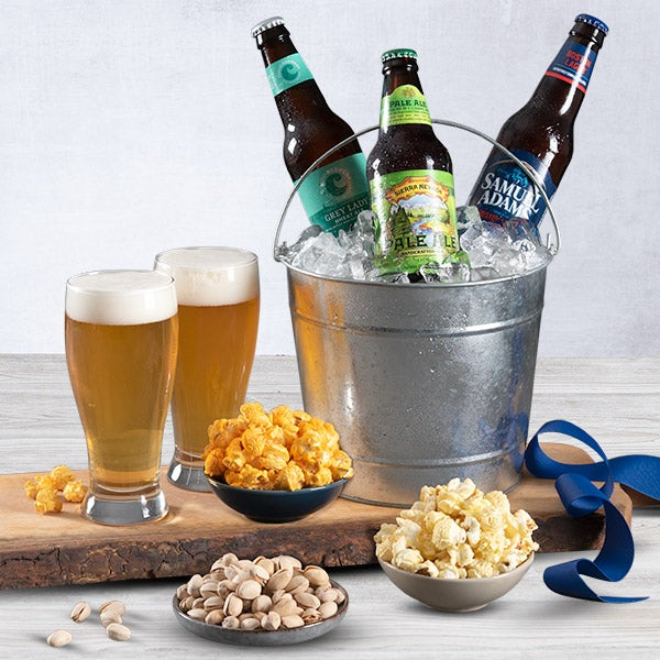 Beer Basket with Popcorn